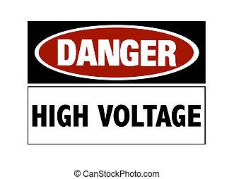 perigo, sinal, -, alto, Voltagem