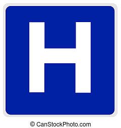 road sign - hospital blue