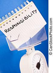 job responsibility, balance measuring pros & cons - metaphor...