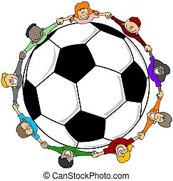 Childrens soccer - This illustration depicts a group of...