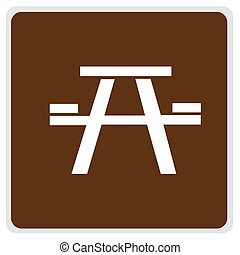 road sign - brown picnic area - road sign - brown, white...