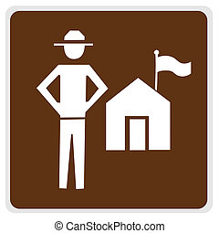 road sign - ranger station, white on brown, with path
