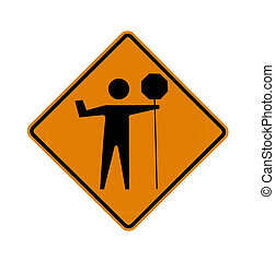 road sign - flagman, black on orange