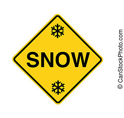 road sign - snow with flakes