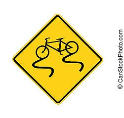 road sign - slippery bike