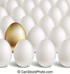 Gold Vector Egg Concept White and unique golden eggs