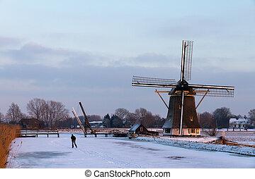 Winter ice skating mill