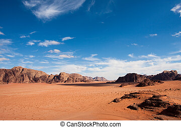 Wide view of Wadi Rum desert, Jordan. Copy space. - Wide...