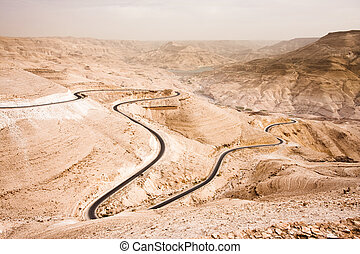 Wadi Mujib - the Jordan Grand Canyon - Massive canyon in the...