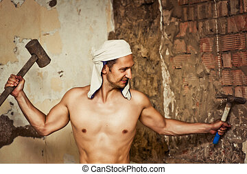 sexy topless male construction worker - Handsome young sexy...