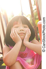 Asian child in park