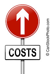 Cost increase concept. - Illustration depicting a roadsign...