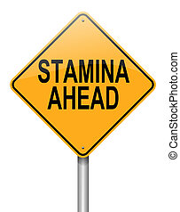 Stamina concept. - Illustration depicting a roadsign with a...