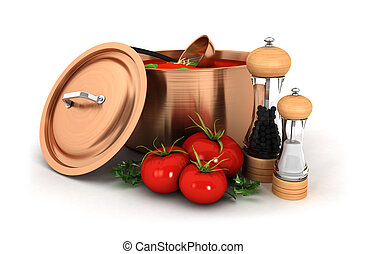 3d soup with ingredient - 3d tomato soup inside copper pot...