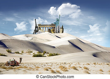World landmarks in the dunes