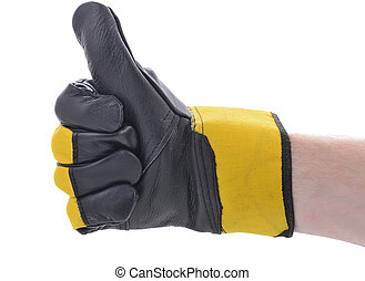 thumbs up construction glove - symbol of ok thumbs up...