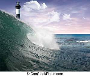 Ocean wave and lighthouse - Ocean wave with lighthouse in...