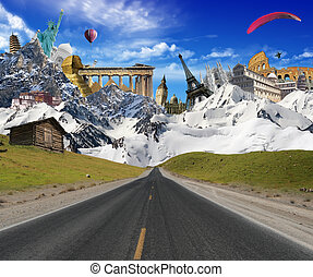 World landmarks with mountain landscape