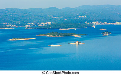 Summer morning coastline of Korcula Island (Croatia) -...