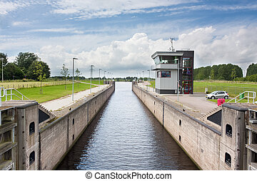 Typical Dutch lock and control room as seen in waterways and...