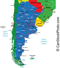 Argentina map - Highly detailed map of Argentina with...