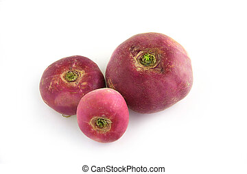 Three purple turnips