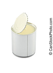Side view of opened sweet milk tin can on white background.