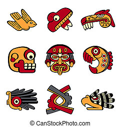 Aztec symbols - Aztec animal and abstract symbols