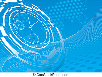 abstract watch background - abstract watch on blue technical...
