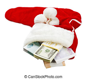 money around the world in a Christmas sock