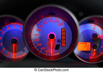 speedometer blue - car panel instrument with blue...
