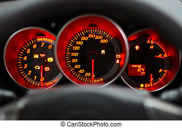 red speedometer - car panel instrument red speedometer and...