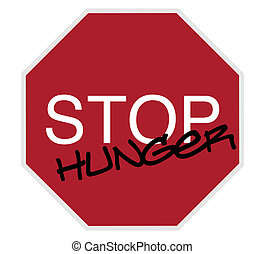 stop sign - stop hunger white on red isolated on white