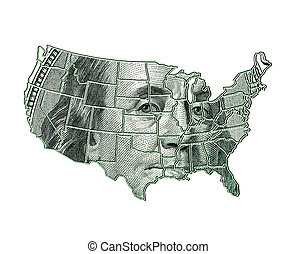 USA map on a dollar background with Franklin image