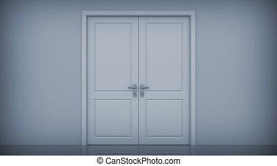 dörrar, öppning, lysande, lätt