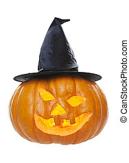 Halloween Pumpkin in Witch Hat - A pumpkin carved up for...