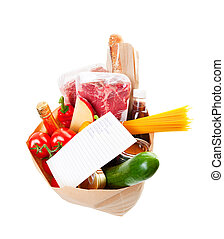 Groceries With List - Wide angle view of a grocery bag full...