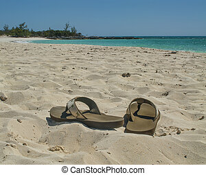Sandals on the Beach - sandals without people on Cat Island...