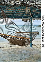 Hammock, Hut, and Beach - hammock and tiki hut on beach in...