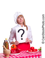 Attractive cook woman a over white background - attractive...