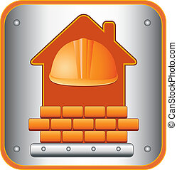 icon with helmet, house and bricks - construction icon with...