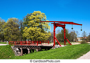 Swing bridge - The drawbridge over the moat of an old castle...