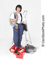 Female labourer with equipment