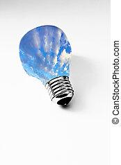 grass inside light bulb on white, concept of clean energy