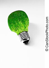 grass inside light bulb on white, concept of clean energy