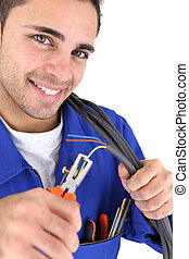 electrician using pliers