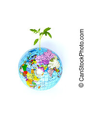 globe and plant - plant from a globe on a white backgroun