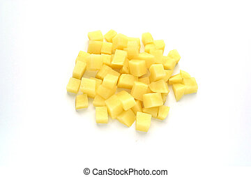 pequeno, queijo, corte, pedaços