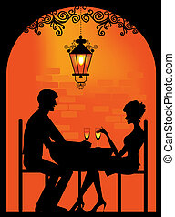Silhouette of a Couple at restauran - Vector silhouette of a...