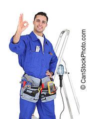 electricista, aprobar, gesto